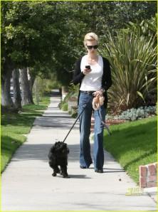 January Jones Walks Her Dog
